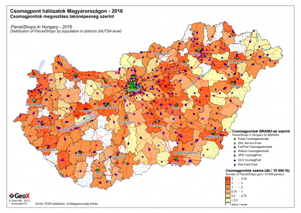 Distribution of ParcelShops by population in Hungary